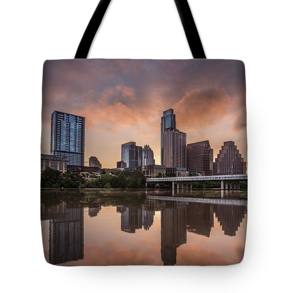 Austin Skyline Sunrise Reflection Tote Bag