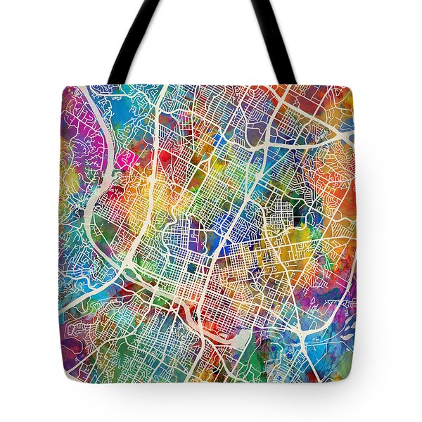 Austin Texas City Map Tote Bag