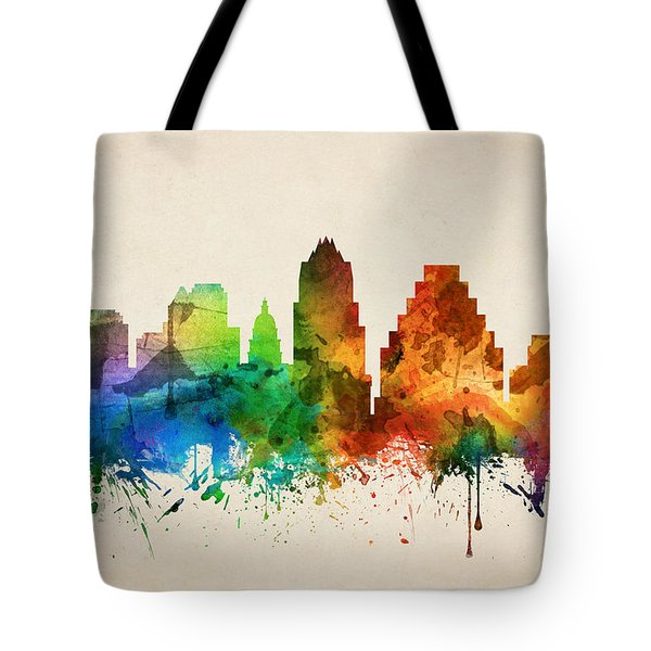 Austin Texas Skyline 05 Tote Bag by Aged Pixel