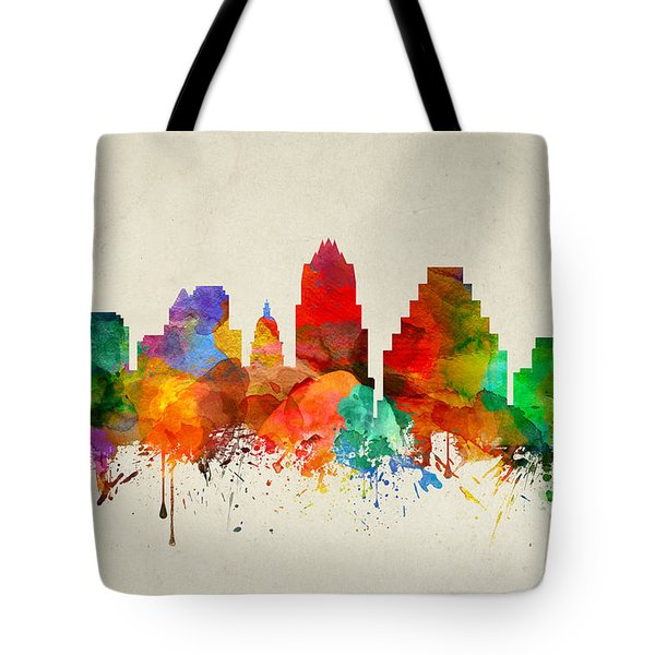 Austin Texas Skyline 22 Tote Bag by Aged Pixel