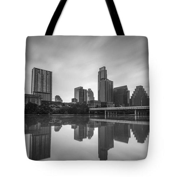 Austin Texas Skyline Reflecting In Ladybird Lake Long Exposure Tote Bag