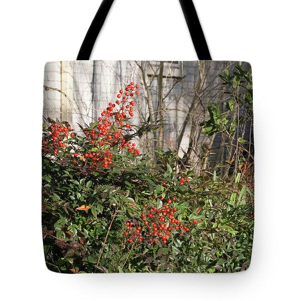 Tote Bag featuring the photograph Austin Winter Berries by Linda Phelps