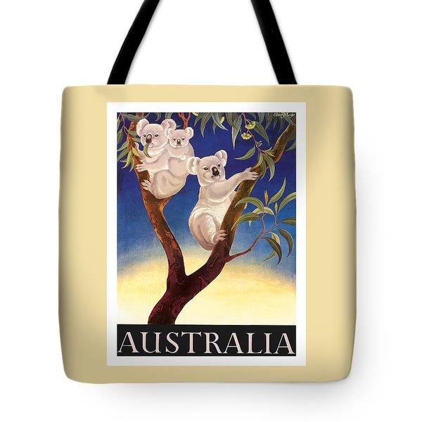 Australia Koala Vintage World Travel Poster By Eileen Mayo Tote Bag