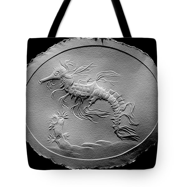 Tote Bag featuring the relief Australian Reef Sea Horse by Suhas Tavkar