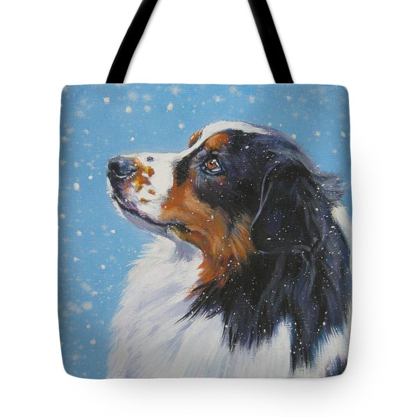 Australian Shepherd In Snow Tote Bag by Lee Ann Shepard