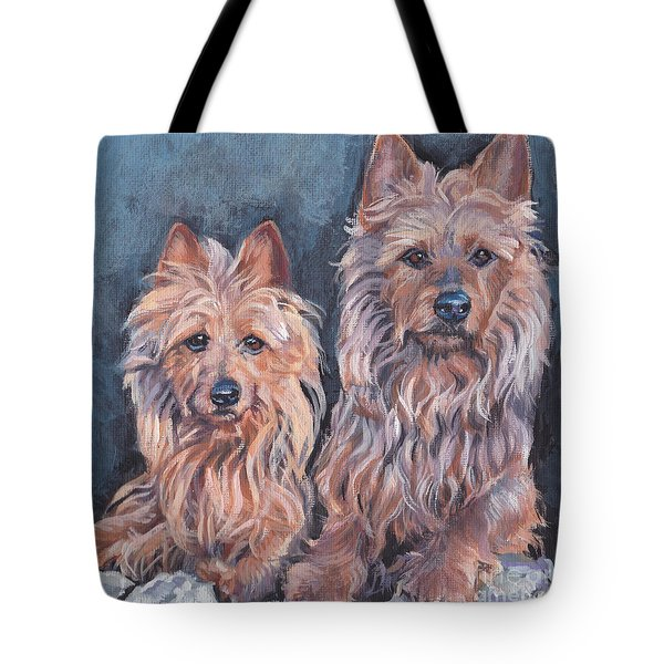 Tote Bag featuring the painting Australian Terriers by Lee Ann Shepard