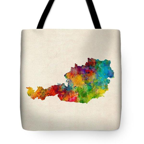 Austria Watercolor Map Tote Bag