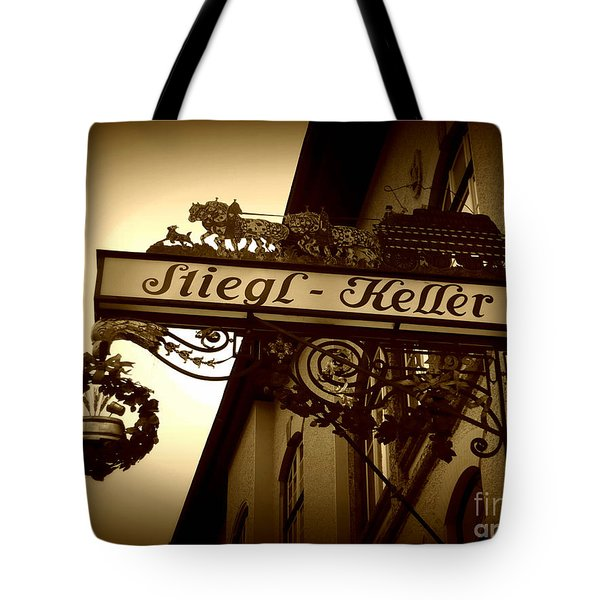 Austrian Beer Cellar Sign Tote Bag by Carol Groenen