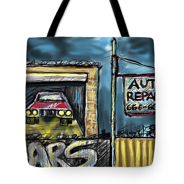 Tote Bag featuring the digital art Auto Repair by Joe Bloch