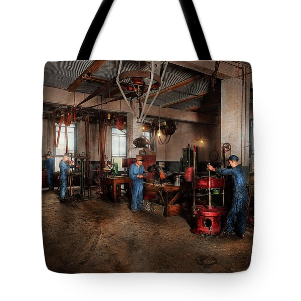 Tote Bag featuring the photograph Autobody - The Bodyshop 1916 by Mike Savad