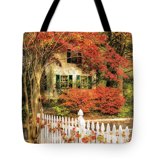 Autumn - House - Festive  Tote Bag by Mike Savad