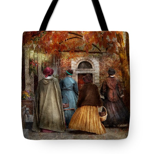 Autumn - People - A Walk Downtown  Tote Bag by Mike Savad