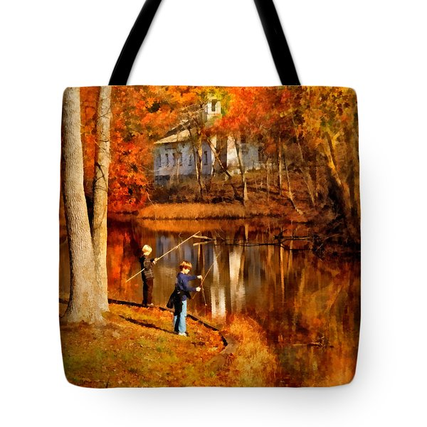 Autumn - People - Gone Fishing Tote Bag by Mike Savad