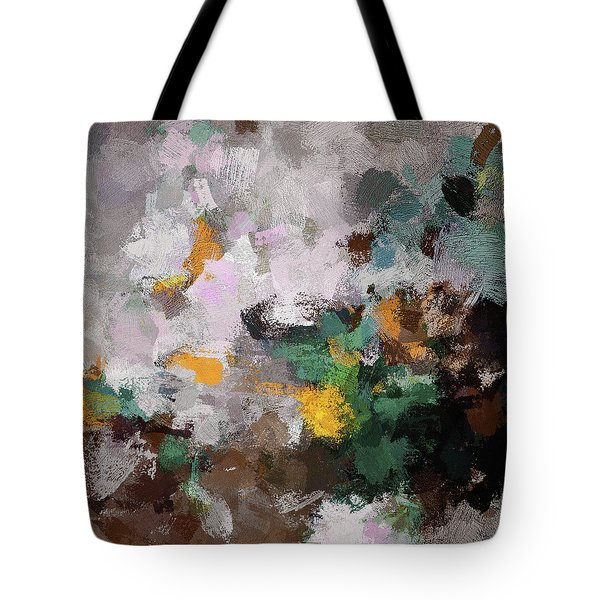 Tote Bag featuring the painting Autumn Abstract Painting by Ayse Deniz