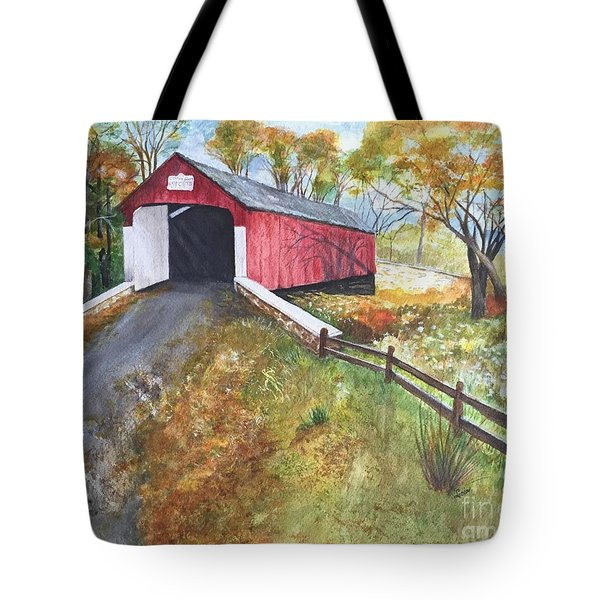 Autumn Afternoon At Knechts Covered Bridge Tote Bag