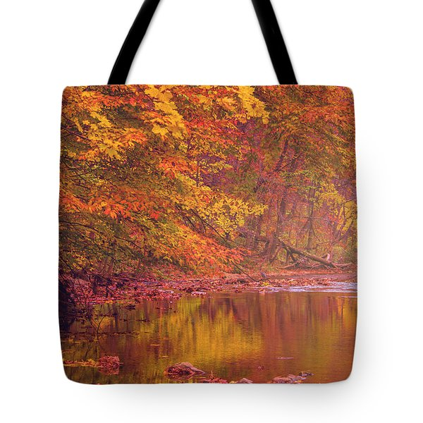 Autumn And The Creek Tote Bag