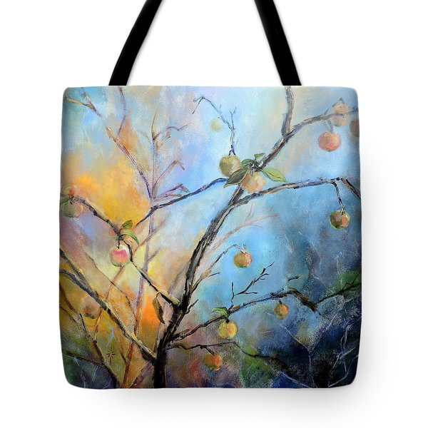 Tote Bag featuring the painting Autumn Apple Tree by Jodie Marie Anne Richardson Traugott          aka jm-ART