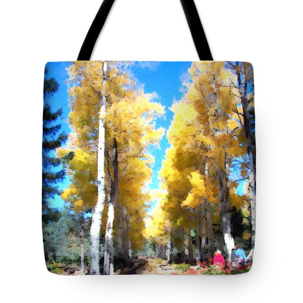 Tote Bag featuring the digital art Autumn Aspens by Deleas Kilgore