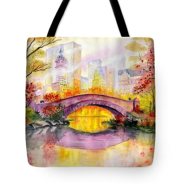 Autumn At Gapstow Bridge Central Park Tote Bag