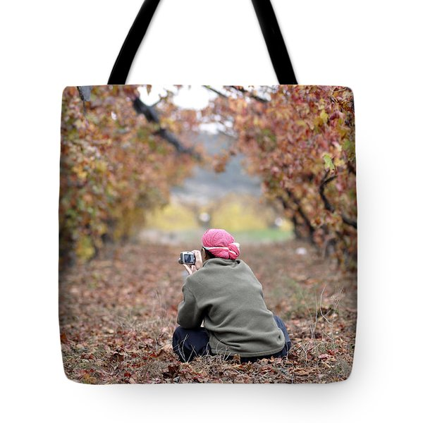 Tote Bag featuring the photograph Autumn At Lachish Vineyards 1 by Dubi Roman