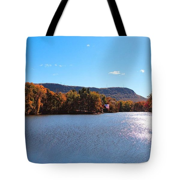 Tote Bag featuring the photograph Autumn At Nashawannuck Pond by Sven Kielhorn