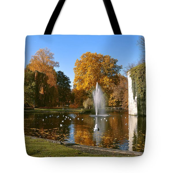 Autumn At The City Park Pond Maastricht Tote Bag by Nop Briex