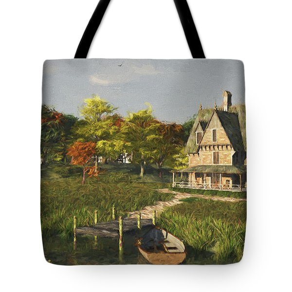 Tote Bag featuring the digital art Autumn At The Lake by Jayne Wilson