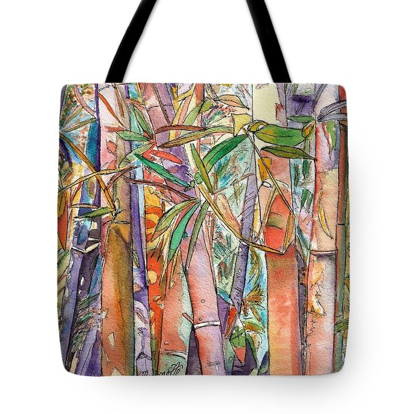 Tote Bag featuring the painting Autumn Bamboo by Marionette Taboniar