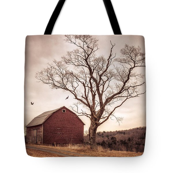 Tote Bag featuring the photograph Autumn Barn And Tree by Gary Heller