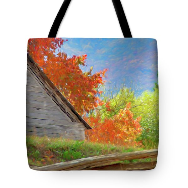 Autumn Barn Digital Watercolor Tote Bag