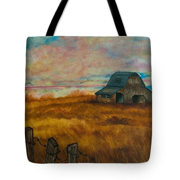 Tote Bag featuring the painting Autumn Barn by Elizabeth Mundaden