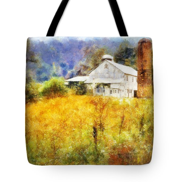 Tote Bag featuring the digital art Autumn Barn In The Morning by Francesa Miller