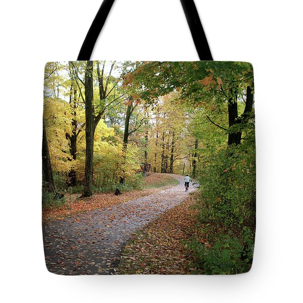 Tote Bag featuring the photograph Autumn Bicycling by Felipe Adan Lerma