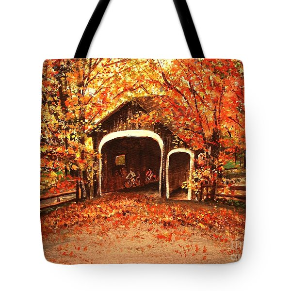 Tote Bag featuring the painting Autumn Bike Ride by Patricia L Davidson