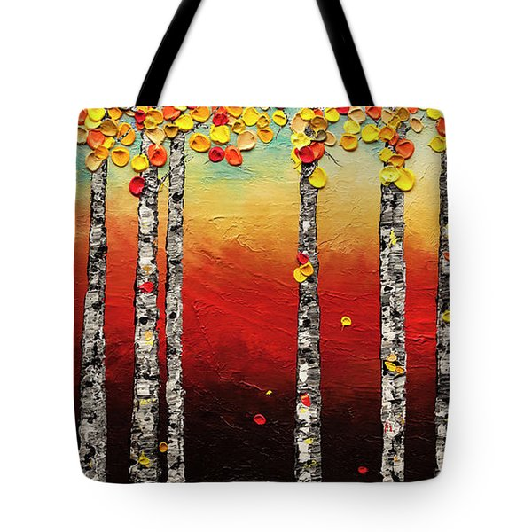 Tote Bag featuring the painting Autumn Birch Trees by Carmen Guedez