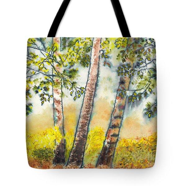 Autumn Birch Trees Tote Bag