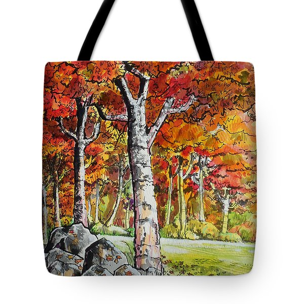 Tote Bag featuring the painting Autumn Bloom by Terry Banderas