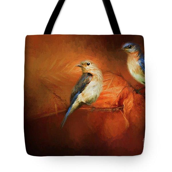Autumn Blue Birds Tote Bag