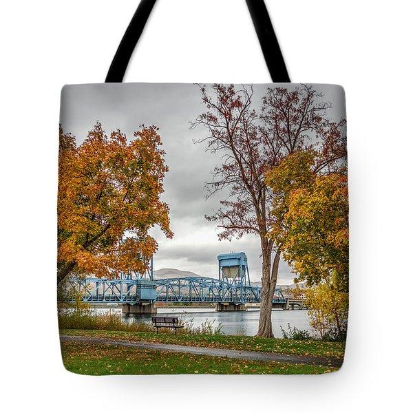 Autumn Blue Bridge Tote Bag