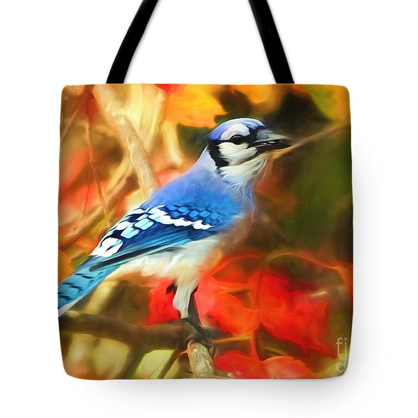 Autumn Blue Jay Tote Bag by Tina LeCour