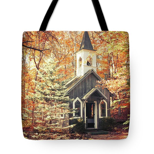 Tote Bag featuring the photograph Autumn Chapel by Joel Witmeyer