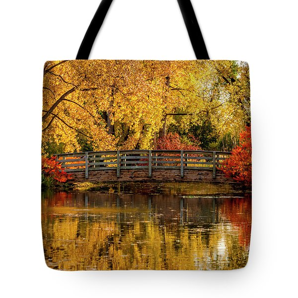 Autumn Color By The Pond Tote Bag