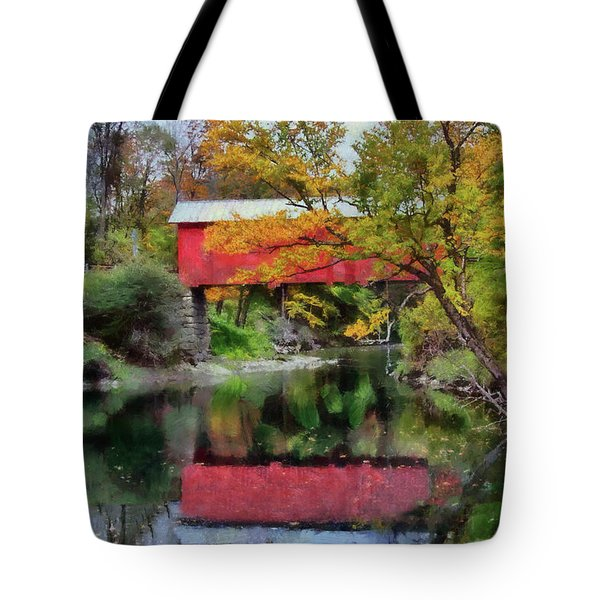 Tote Bag featuring the photograph Autumn Colors Over Slaughterhouse. by Jeff Folger