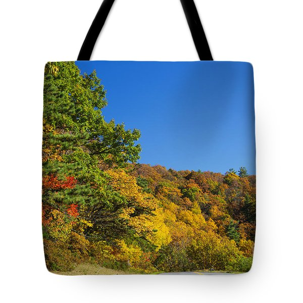Autumn Country Roads Blue Ridge Parkway Tote Bag by Nature Scapes Fine Art