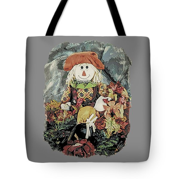 Tote Bag featuring the digital art Autumn Country Scarecrow by Kathy Kelly