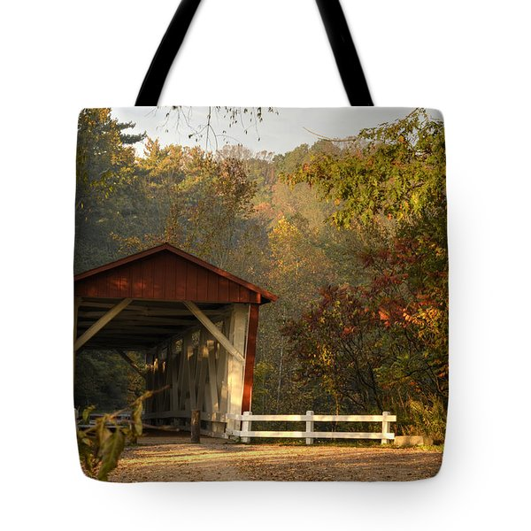 Autumn Covered Bridge Tote Bag by Ann Bridges