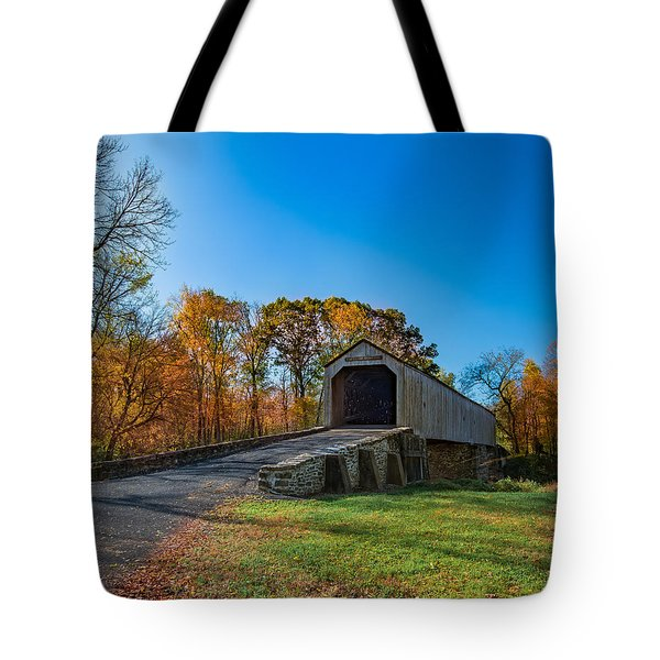 Tote Bag featuring the photograph Autumn Crossing by Phil Abrams