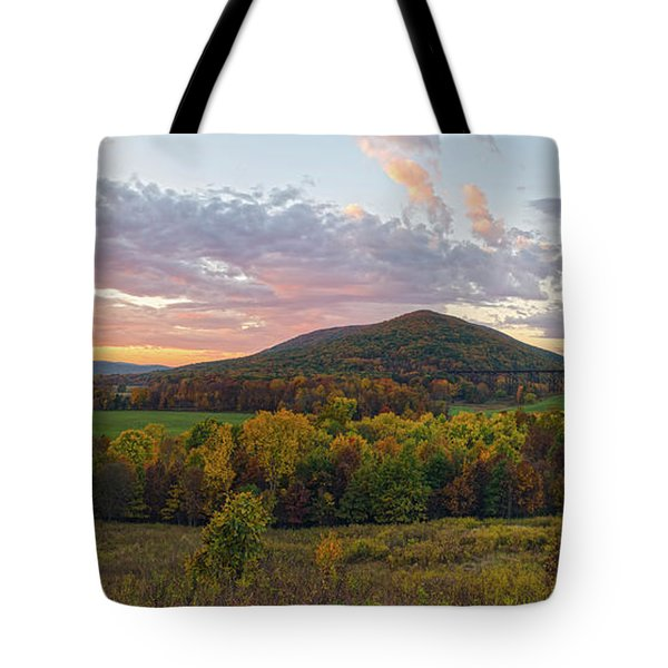 Autumn Dawn At Moodna Viaduct Trestle Panorama  Tote Bag