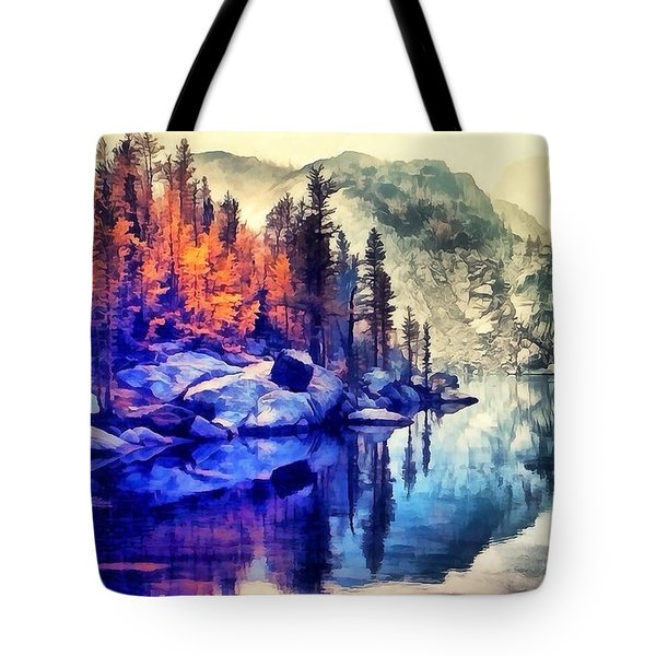 Autumn Day On The Lake. Tote Bag