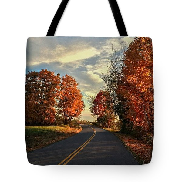 Tote Bag featuring the photograph Autumn Drive by Kendall McKernon